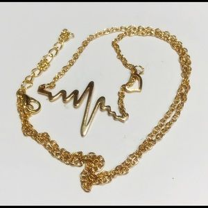 Jewelry - EKG Heartbeat Charm Necklace/Yellow Gold Plate